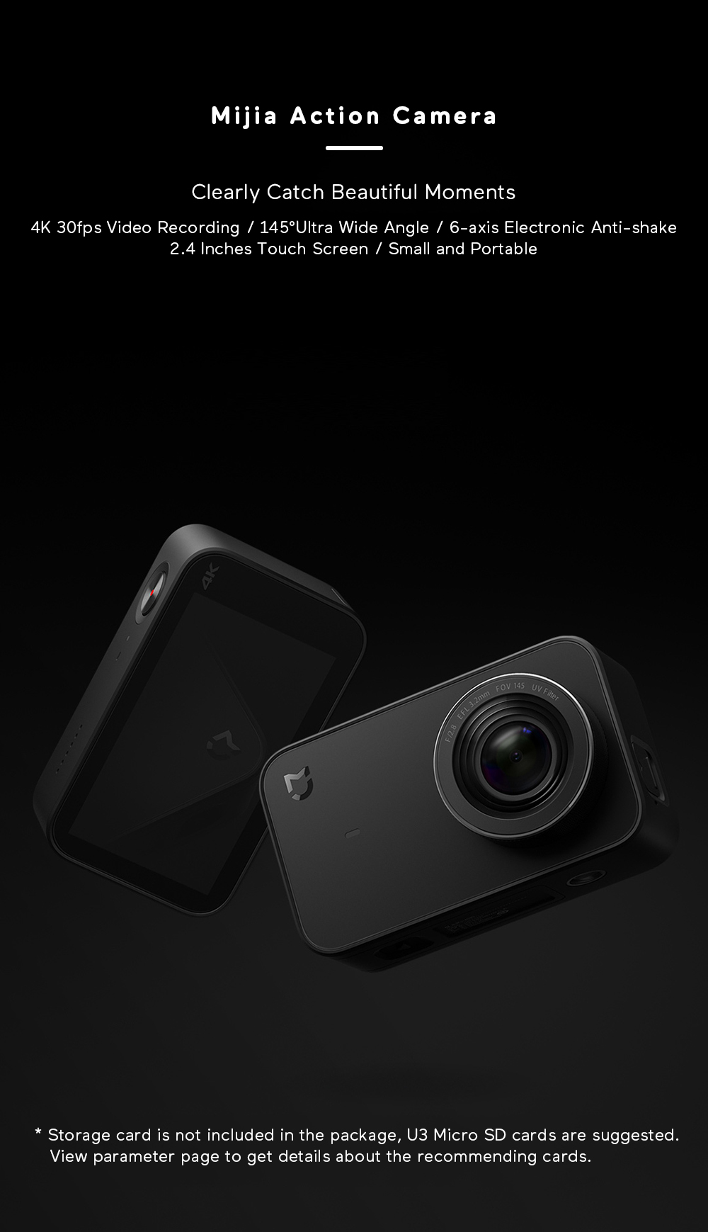 Xiaomi Mijia 4K Ambarella A12S75 Sony IMX317 2,4 - crna - image Xiaomi-Camera-Mijia-4K-Action-Camera-20170824174644451 on https://smartmall.hr