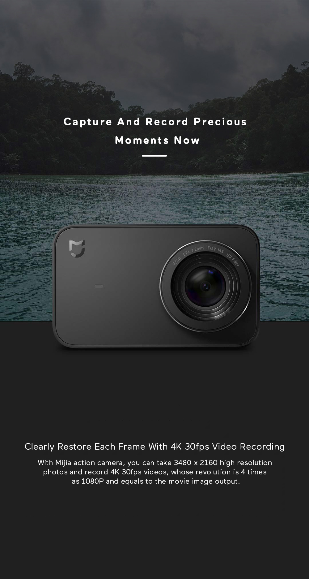 Xiaomi Mijia 4K Ambarella A12S75 Sony IMX317 2,4 - crna - image Xiaomi-Camera-Mijia-4K-Action-Camera-20170824174652954 on https://smartmall.hr