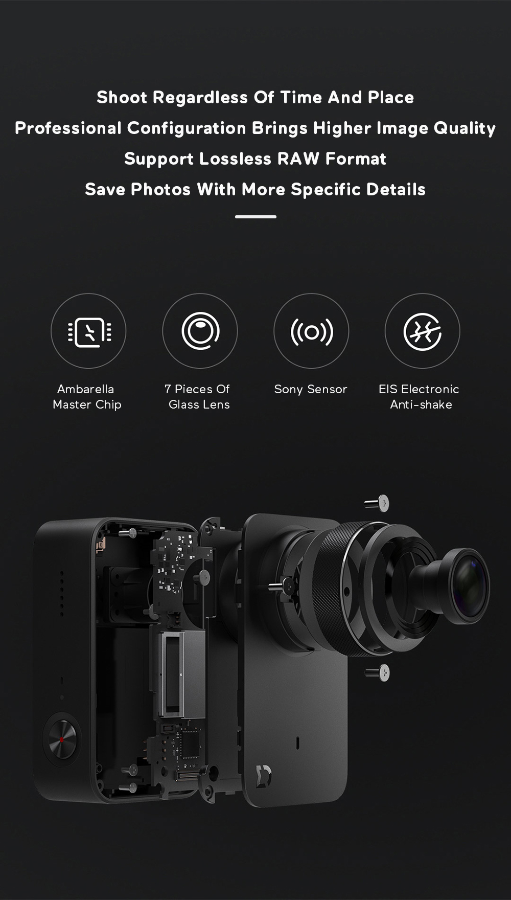 Xiaomi Mijia 4K Ambarella A12S75 Sony IMX317 2,4 - crna - image Xiaomi-Camera-Mijia-4K-Action-Camera-20170824175000574 on https://smartmall.hr