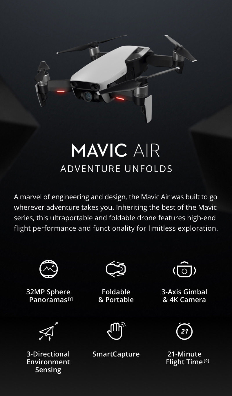 DJI Mavic Air 4K DRON s fotoaparatom Gimbal SmartCapture Sklopivi RC Drone RTF - Onyx Black - image geekbuying-DJI-Mavic-Air-4K-Foldable-RC-Drone-Fly-More-Combo-Flame-Red-479928- on https://smartmall.hr