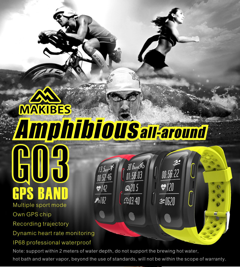 Makibes G03 Smart ručni sat IP68  Sport Tracker GPS Heart Rate Monitor Fitness Narukvica - image geekbuying-Makibes-G03-Smart-Bracelet-Black-422100- on https://smartmall.hr