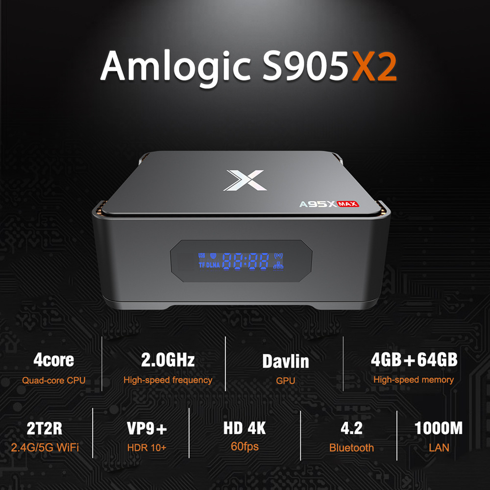 A95X MAX S905X2 4GB DDR4 64GB eMMC 4K Android 8.1 TV box SATA 2.5 SSD / HDD Dual Band WiFi Bluetooth Gigabit LAN USB3.0 - image geekbuying-A95X-MAX-S905X2-Android-8-1-4GB-64GB-TV-Box-720017- on https://smartmall.hr