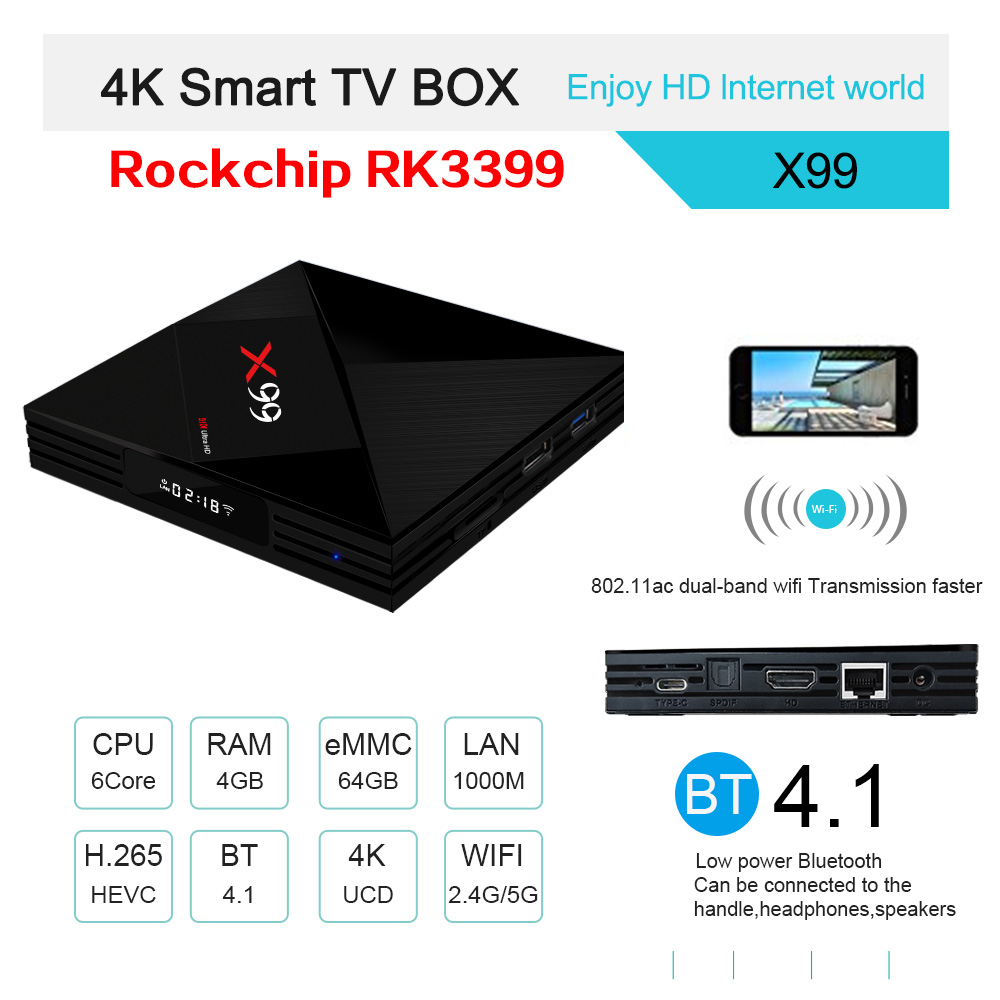TV BOX X99 RK3399 4GB / 64GB Android 7.1 KODI 18.0 4K Bluetooth USB3.0 VP9 H.265 - image geekbuying-X99-RK3399-4GB-64GB-Android-7-1-TV-Box-663816- on https://smartmall.hr