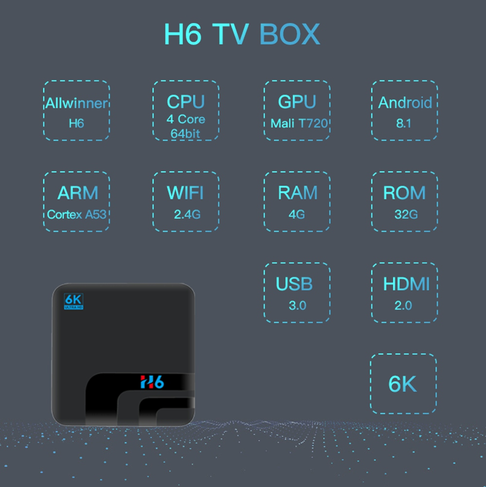 H6 Allwinner H6 Android9.0 4G / 32G 6K HDR TV BOX - image geekbuying-H6-TV-Box-Android9-0-Allwinner-H6-4GB-32GB-2-4G-WIFI-USB3-0-805642- on https://smartmall.hr